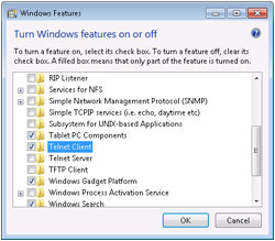 Windows Features dialog box
