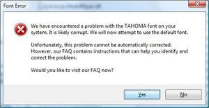 Tahoma Font Missing