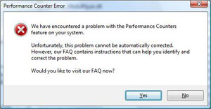 Performace Counter Error dialog box